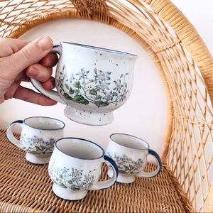 Vintage 1970s 1980s Floral Stoneware Mug Set